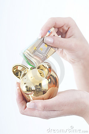 Free Putting Money In Piggy Bank Stock Images - 12730074