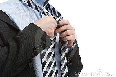Putting on necktie