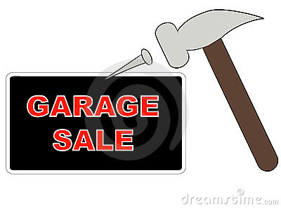 Putting up garage sale sign