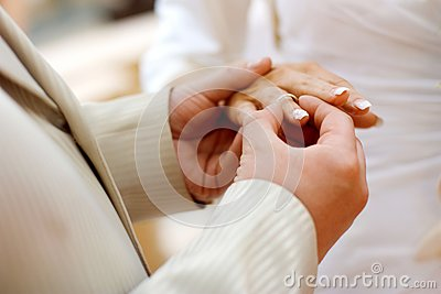 Putting a wedding ring on bride s finger