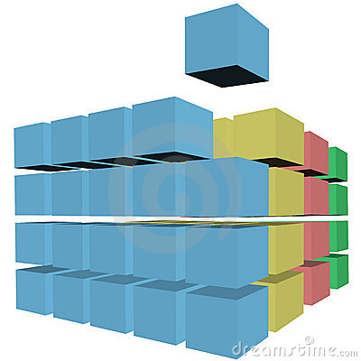 Puzzle abstract cubes boxes cartons