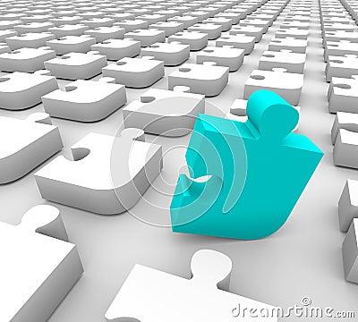 Puzzle - Blue Standing Piece