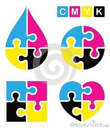 Free Puzzle Cmyk Logo Royalty Free Stock Photo - 46453885