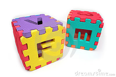 Puzzle cubes with letters