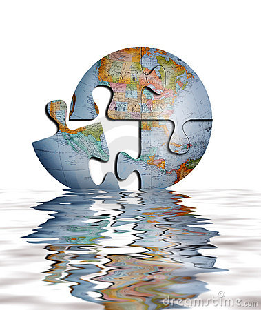 Puzzle Of Earth Globe In Water