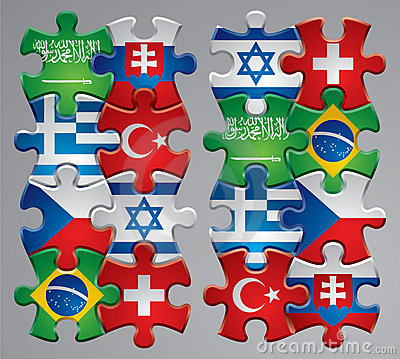 Puzzle flag icons 4