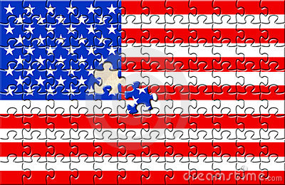 Puzzle with flag USA