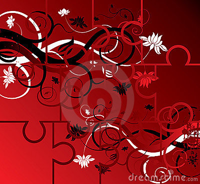 Puzzle floral background, elements for design, vector