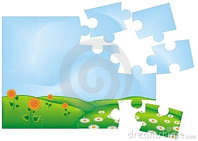 Puzzle of flowering meadow