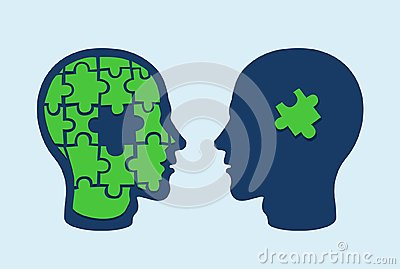Puzzle head brain. Face profiles against each other with one missing jigsaw piece cut out Stock Photo