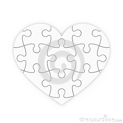 Puzzle of a heart . isolated jigsaw