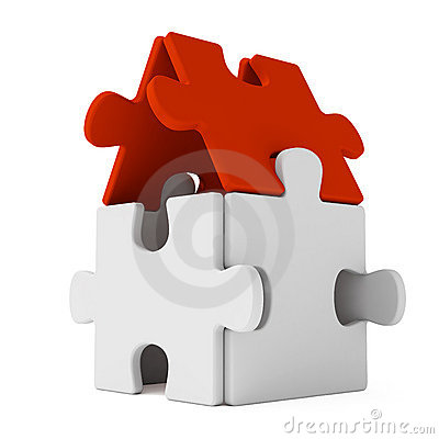 Free Puzzle Home With Red Roof Royalty Free Stock Photography - 3033407