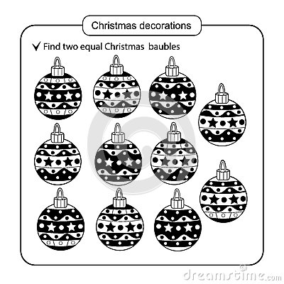 Puzzle for kids. Kid mind game. Assorted things to find the match. Christmas balls set.. Vector Illustration