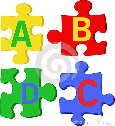 Puzzle letters stock illustration image 54531646 - Putting together stylish kitchen abcs ...
