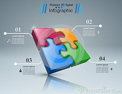 Puzzle logo. Business Infographics. Vector Illustration