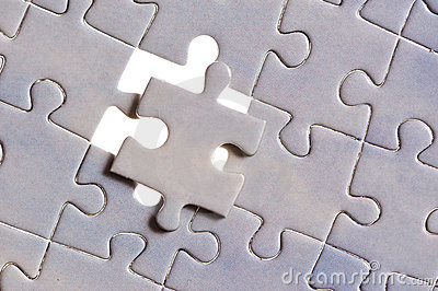 Puzzle with one piece missing