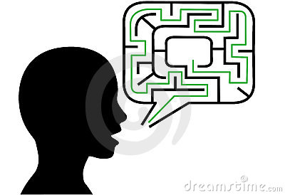 Puzzle person talks maze speech bubble solution