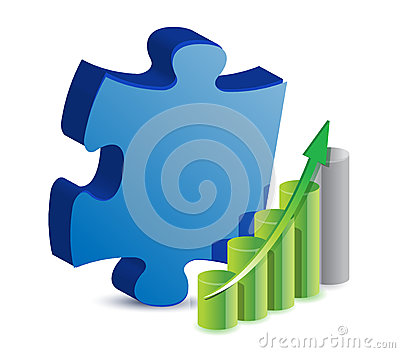 Puzzle piece and business graph illustration