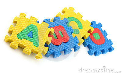 Puzzle pieces of alphabets