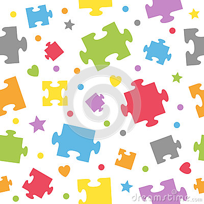 Puzzle Pieces Seamless Pattern