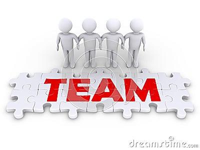 Puzzle team with men