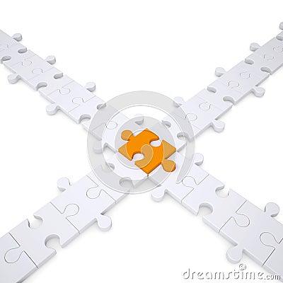 Puzzle white and orange