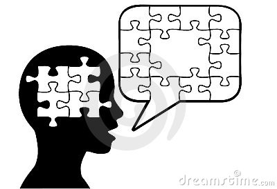 Puzzled person talk puzzle pieces speech bubble