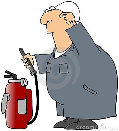 Puzzled Worker With A Fire Extinguisher