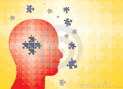 Puzzles in human head - man finding solution