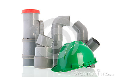 PVC pipes with green helmet