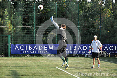 Pyatov Andriy jumping for the ball Editorial Stock Photo