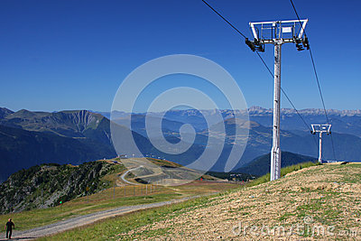 Pylon and Mountain Landscape