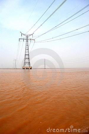 The pylon in the Yellow River