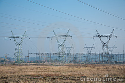 Pylons and transmission power lines