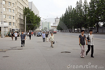 Pyongyang streetscape.2011 Editorial Image
