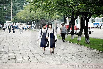 Pyongyang streetscape. Editorial Stock Photo