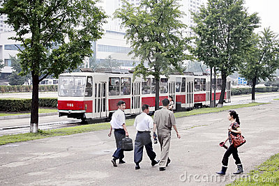 Pyongyang streetscape. Editorial Stock Image