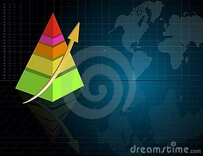Pyramid business graph with world map