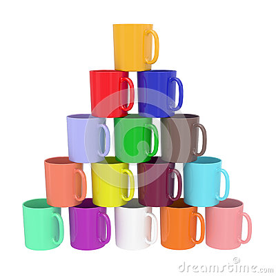 Pyramid composed of colorful ceramic cups