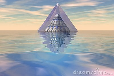 Pyramid floating on sea