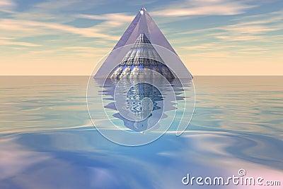 Pyramid floating on sea