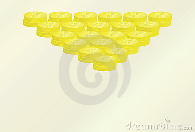 Pyramid of golden coins