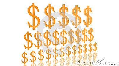 Pyramid of growing dollars