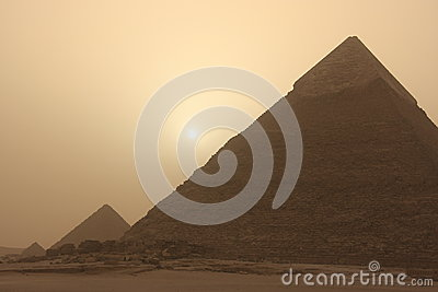 Pyramid of Khafre at sand storm, Cairo, Egypt