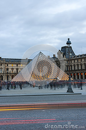 Pyramid of Louvre in the evening Editorial Image