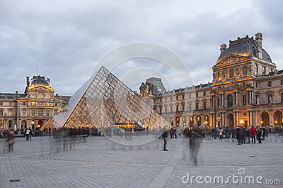 Pyramid of Louvre in the evening Editorial Photo