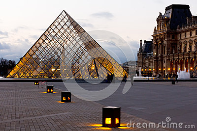 Pyramid of the Louvre Museum Paris Editorial Photo
