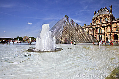 Pyramid of Louvre Museum in Paris France Editorial Image