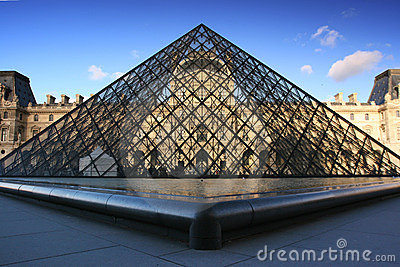 Pyramid of Louvre Museum in Paris France Editorial Stock Image