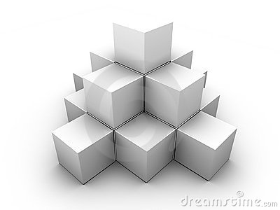 A pyramid made of similar gray boxes